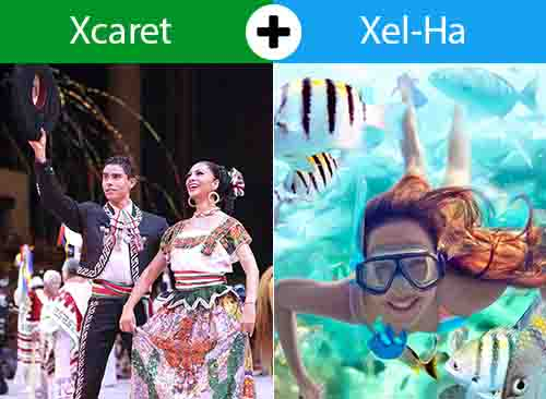 Xcaret Plus + Xel Há 2 días - 2 tours