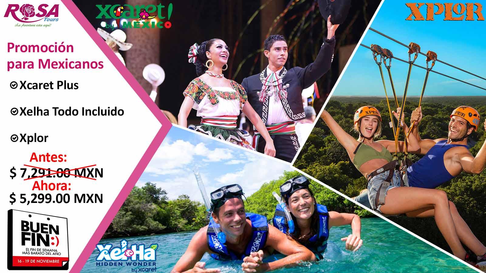 Promoción para Mexicanos Xcaret Plus + Xel Há + Xplor&IN