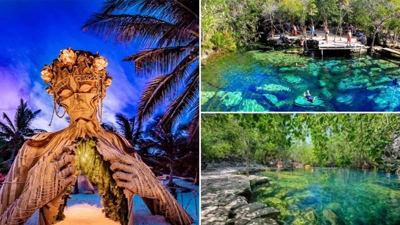 Tour Dos Cenotes | Estatua de la Madre Naturaleza | Club de Playa